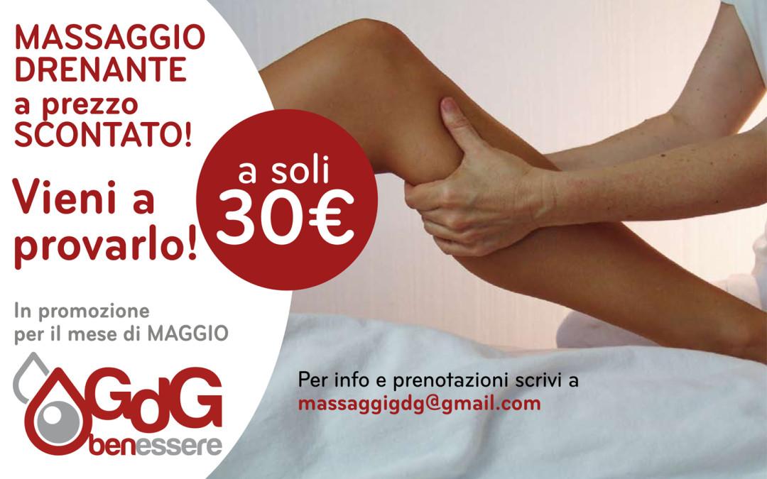 Massaggio Drenante in promozione per il mese di Maggio a soli 30€
