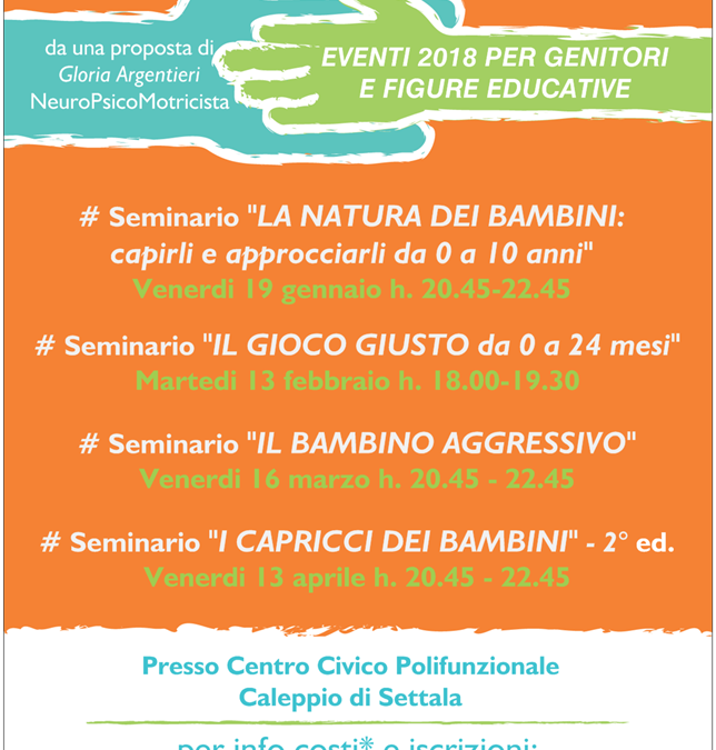 NUOVI EVENTI 2018 PER GENITORI E FIGURE EDUCATIVE